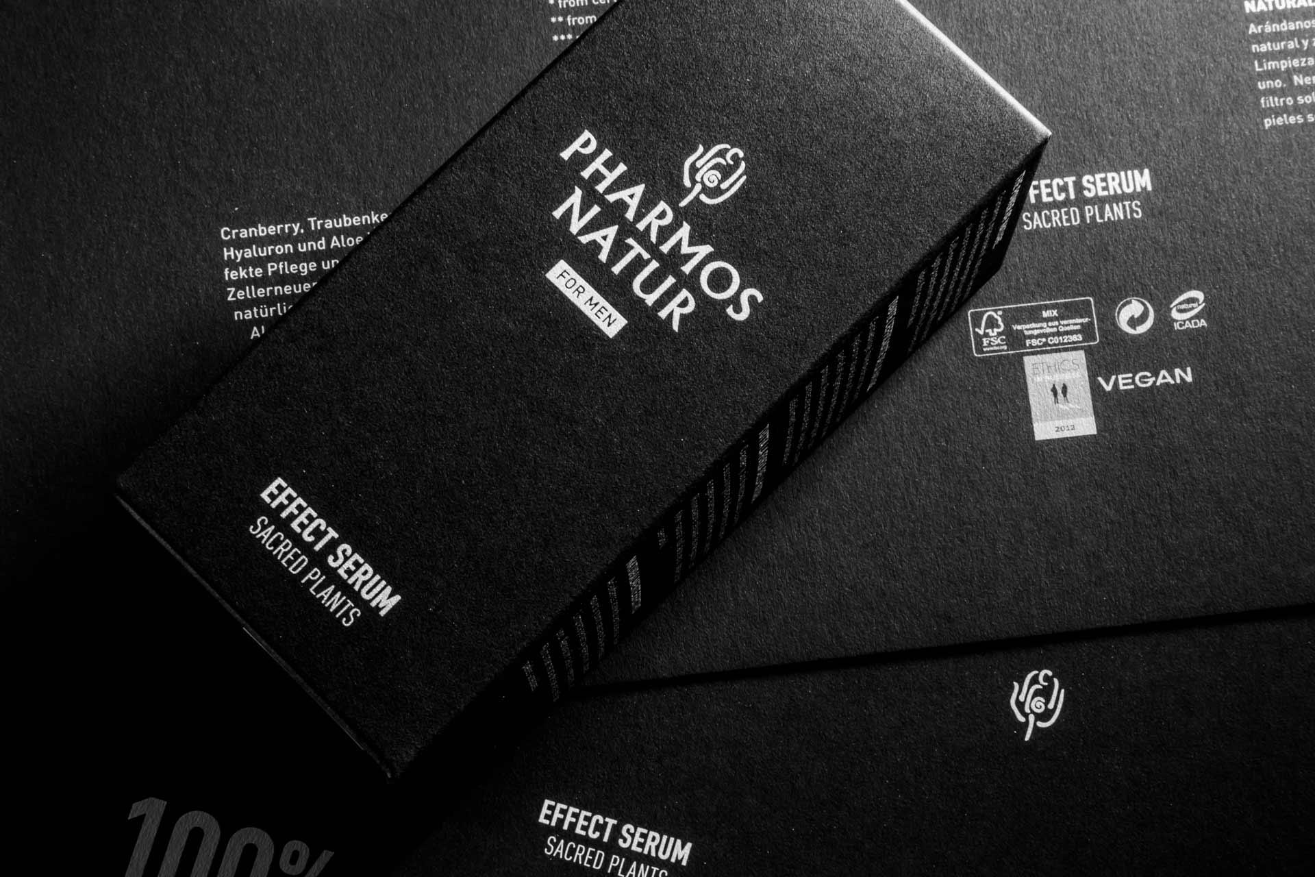 Pharmos Natur Männerlinie, Nature of Men, Fedrigoni, Sirio Ultra Black, Packagingdesign, Bernhard Hafele