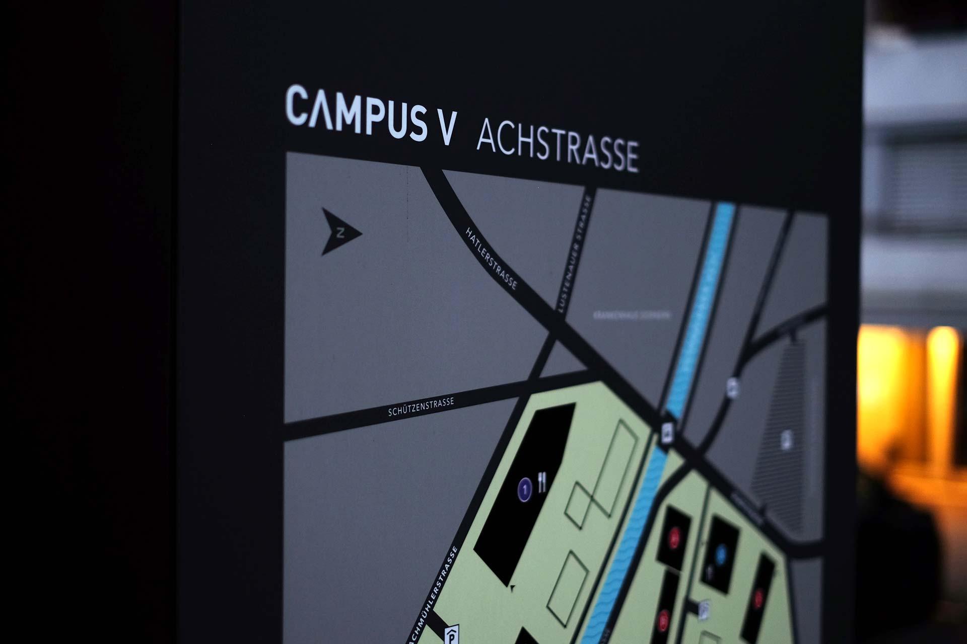 Konzept und Design für den Campus V in Dornbirn, Österreich, FH Vorarlberg, Signaletik, Leitsystem, Grafikdesign, Bernhard Hafele