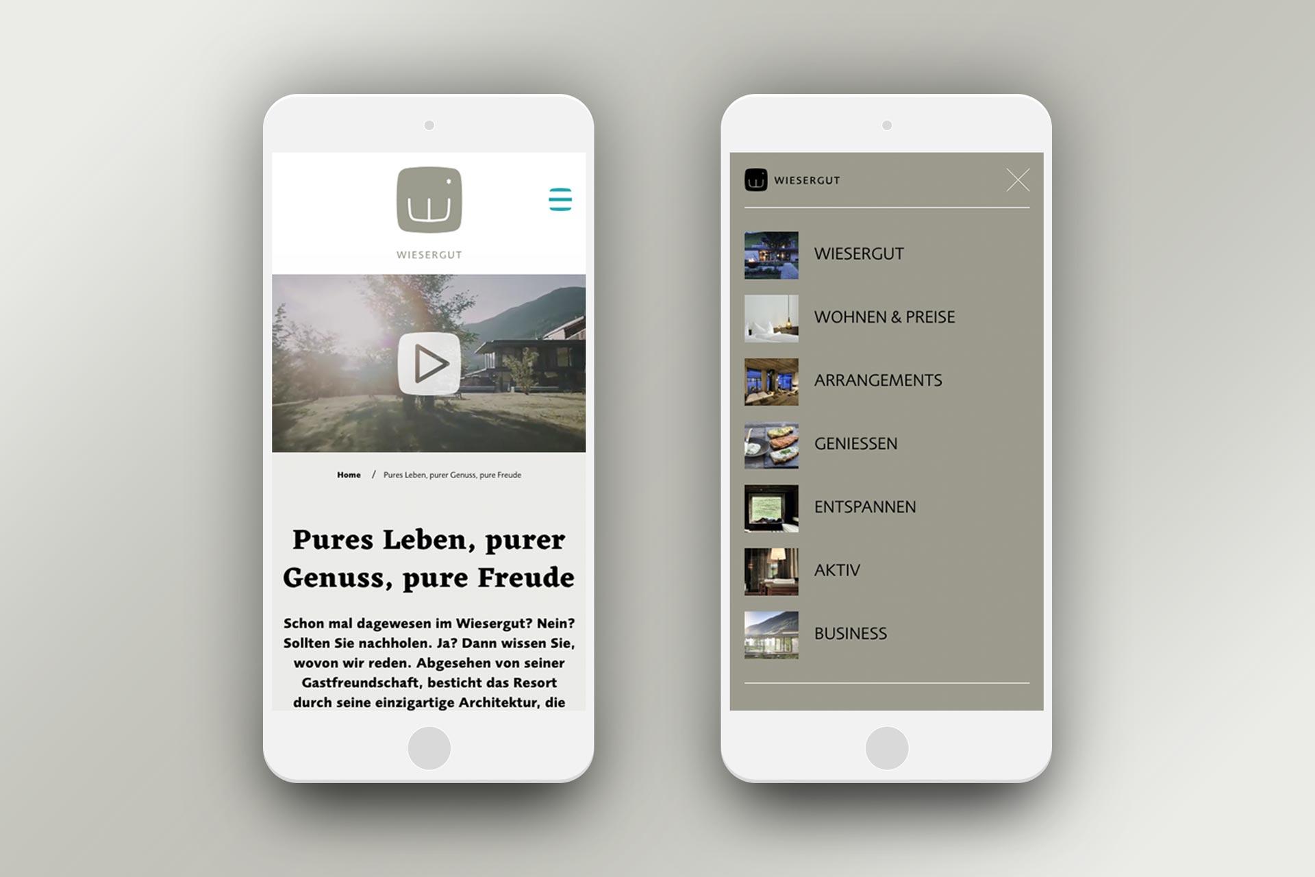 Website Hotel Wiesergut, Mobile Ansicht, Bernhard Hafele