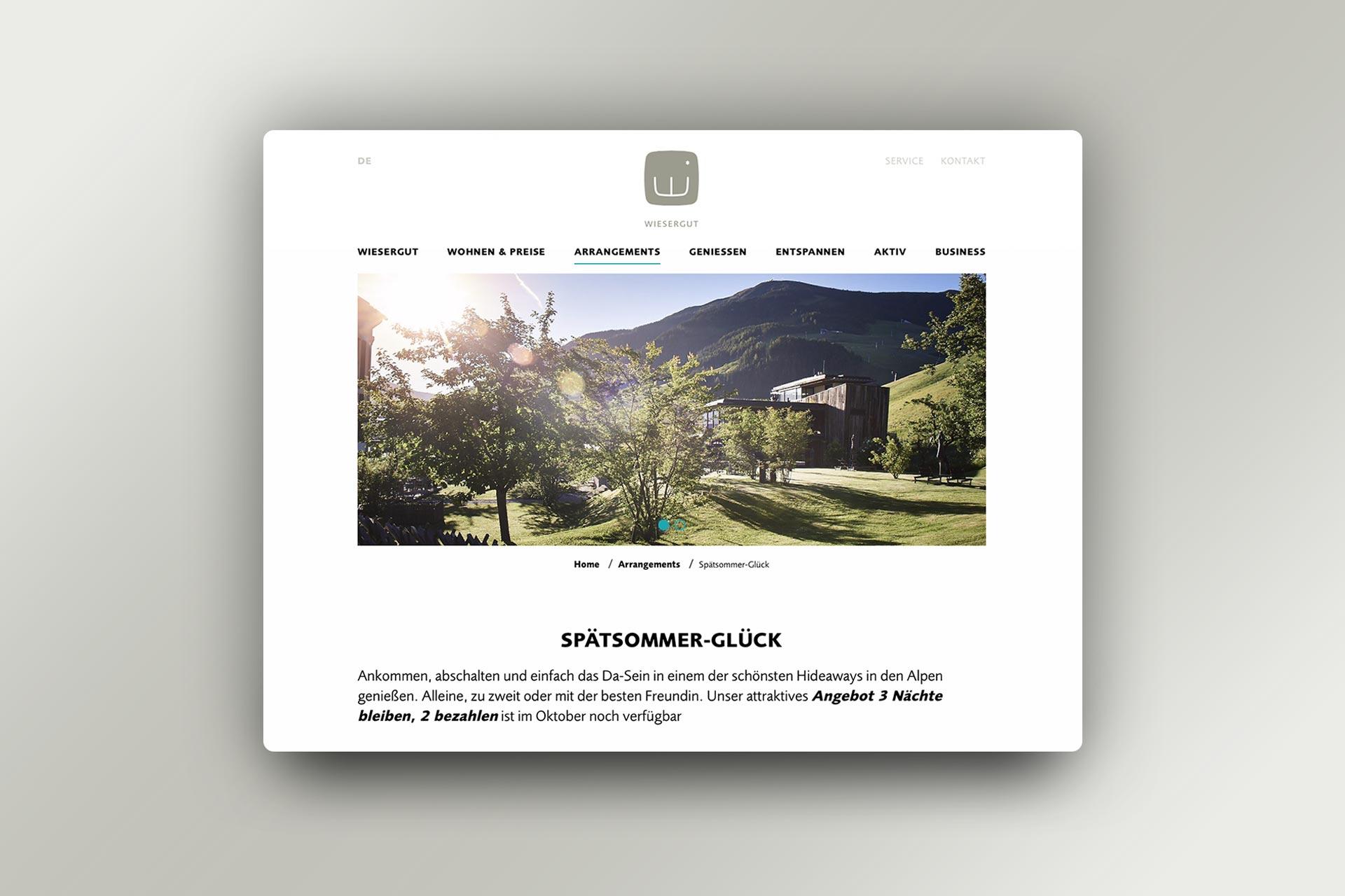 Website Hotel Wiesergut, Unterseite, Bernhard Hafele