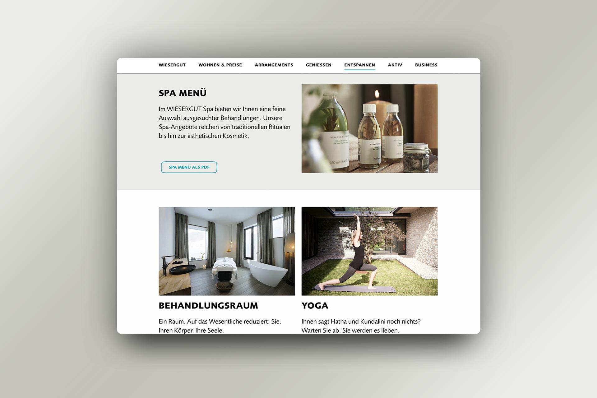 Website Hotel Wiesergut, Designdetails, Bernhard Hafele