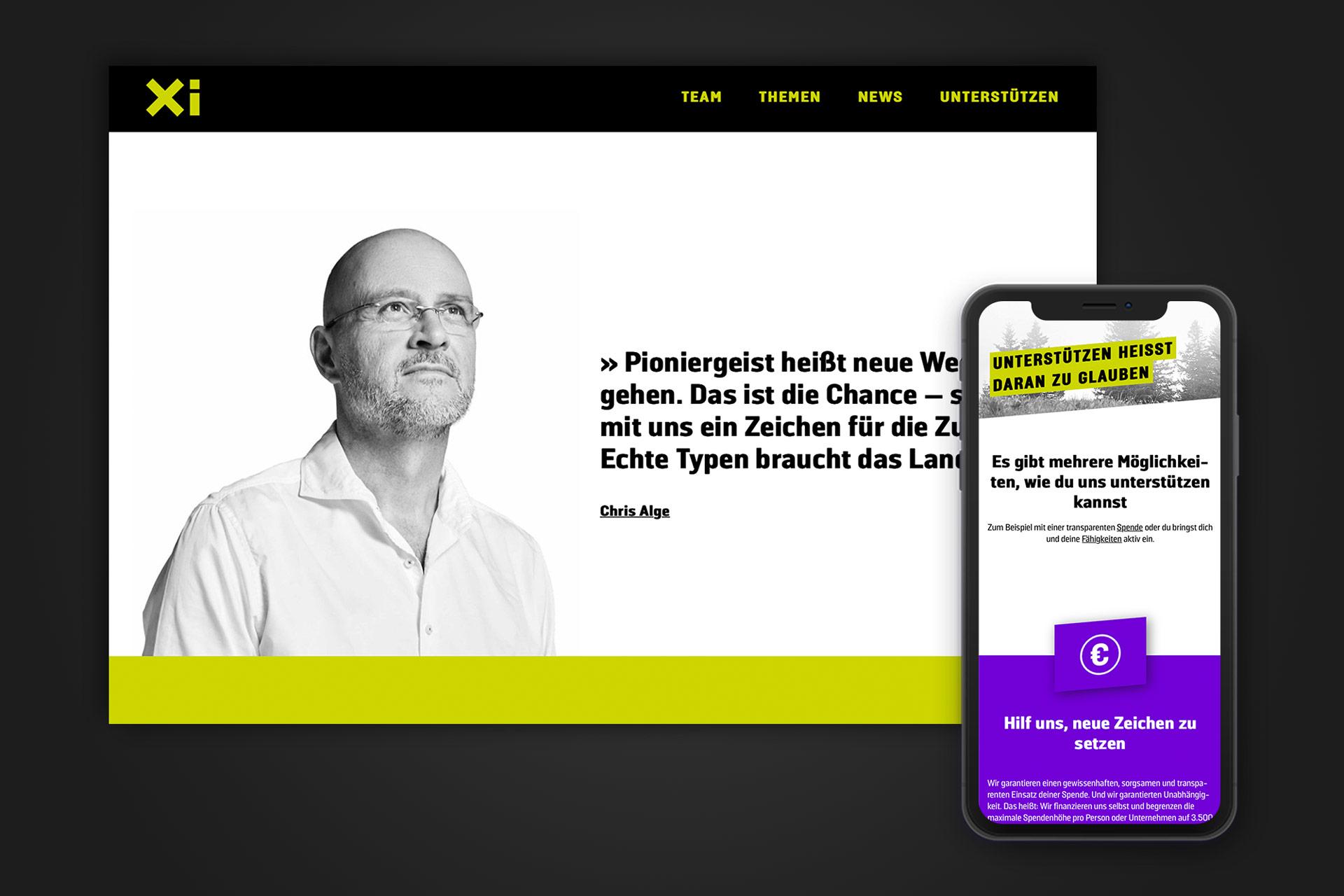 Die Website von Xi als Desktop- und Mobile Variante – von Bernhard Hafele