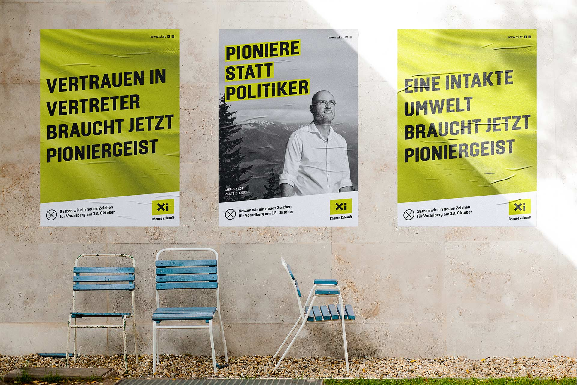Verschiedene Plakate der Partei Xi – Chance Zukunft – von Bernhard Hafele