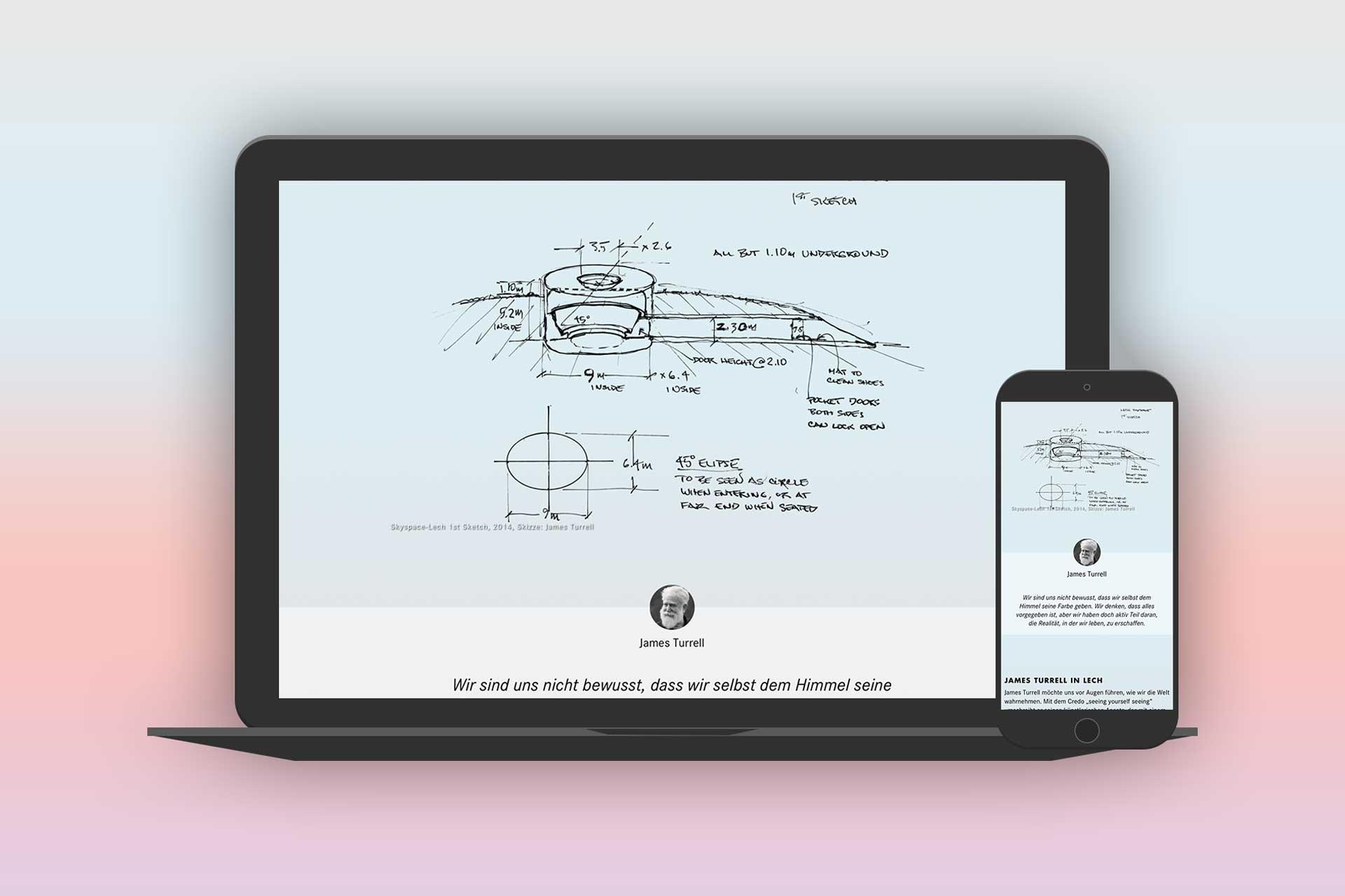 Designdetails, Webdesign skyspace Lech, UI, UX, Web, James Turrell, Kunst, Bernhard Hafele