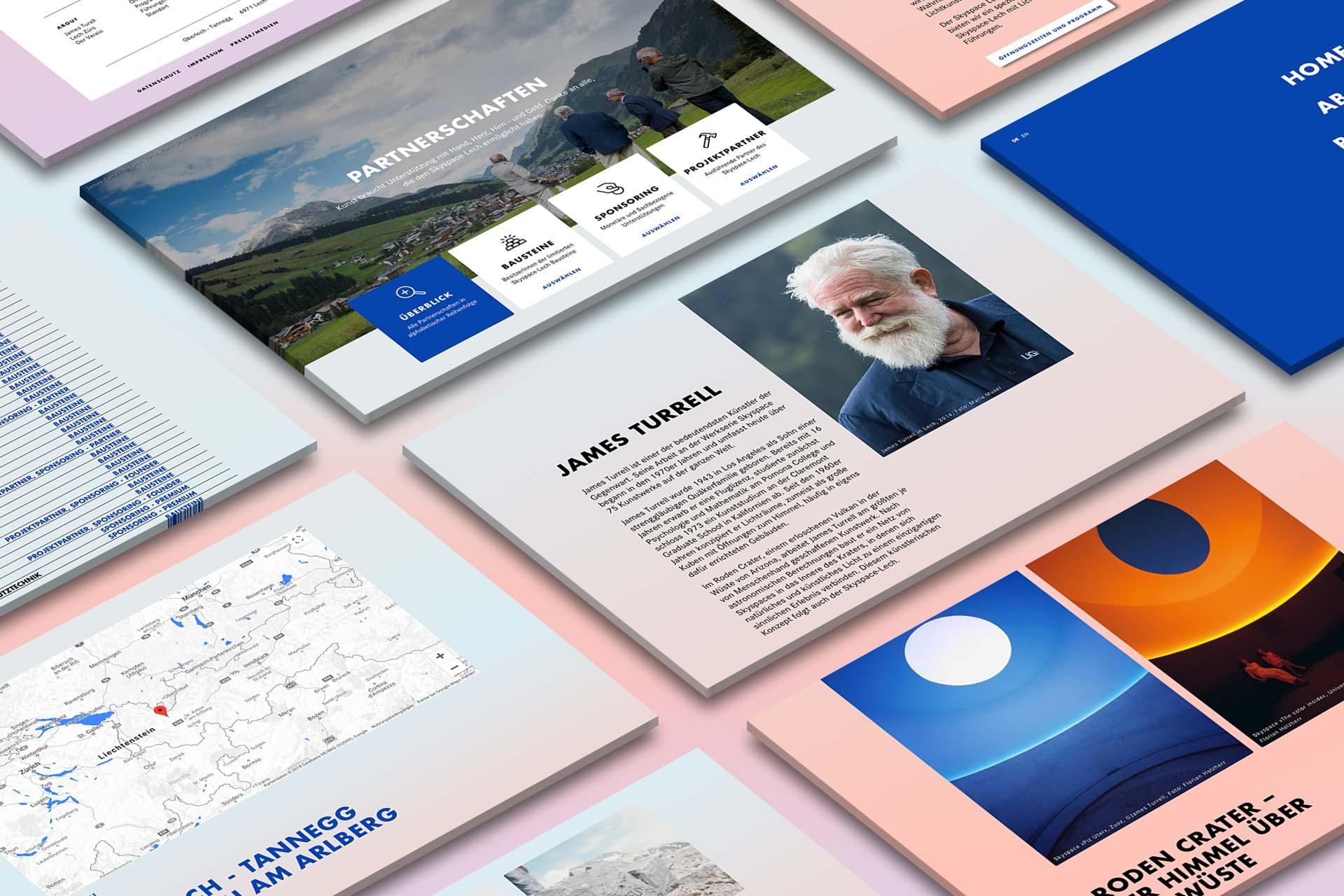 Übersicht, Webdesign skyspace Lech, UI, UX, Web, James Turrell, Kunst, Bernhard Hafele
