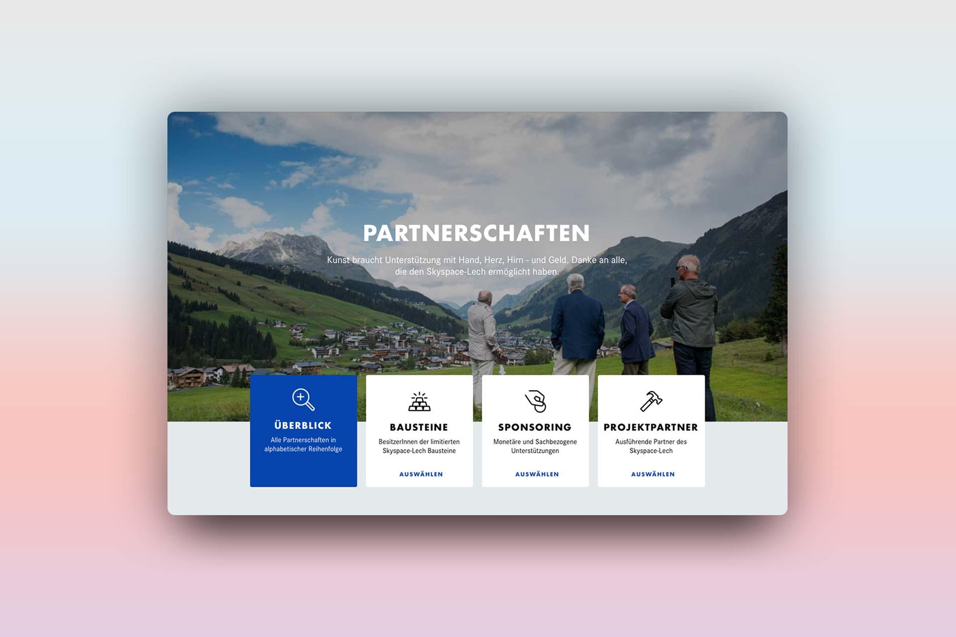 Partnerschaft, Webdesign skyspace Lech, UI, UX, Web, James Turrell, Kunst, Bernhard Hafele